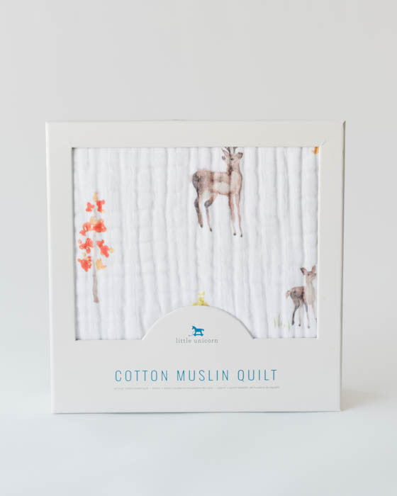 Cotton Muslin Baby Quilt - Deer