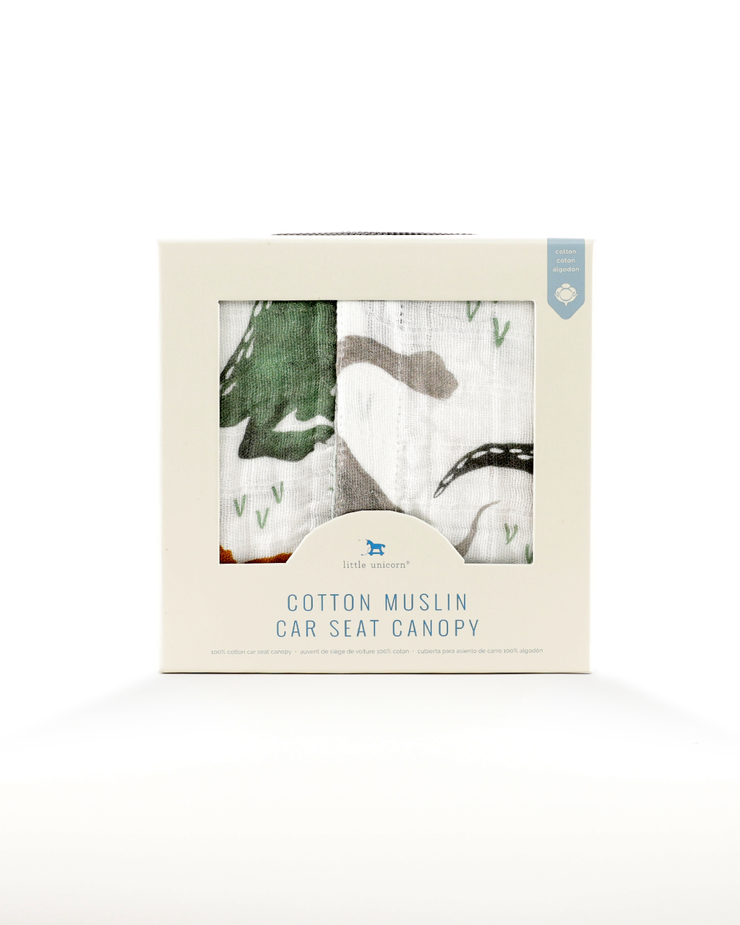 Cotton Muslin Car Seat Canopy - Dino Friends