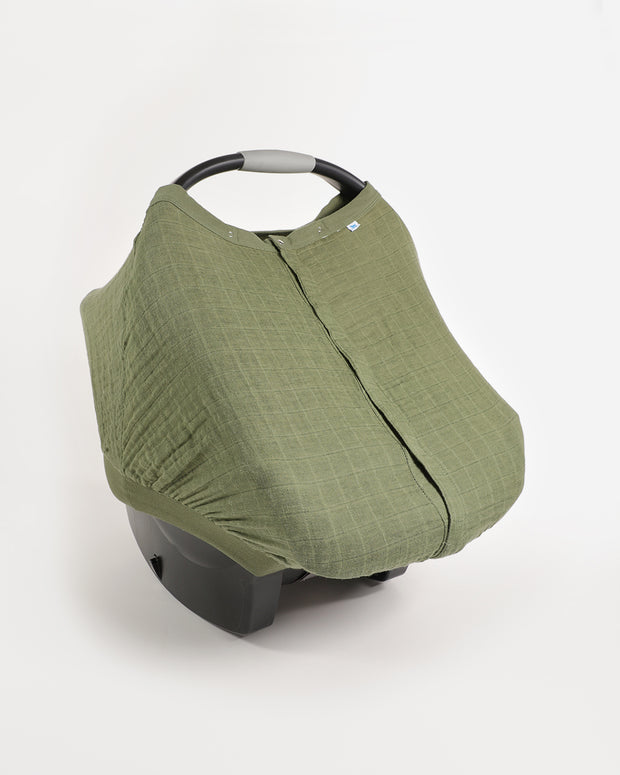 Cotton Muslin Car Seat Canopy - Fern