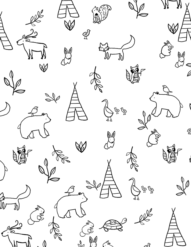 downloadable coloring pages forest friends