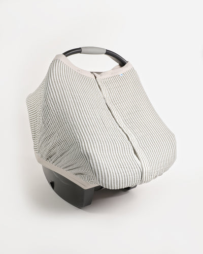 Cotton Muslin Car Seat Canopy - Grey Stripe