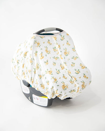 Cotton Muslin Car Seat Canopy - Yellow Rose