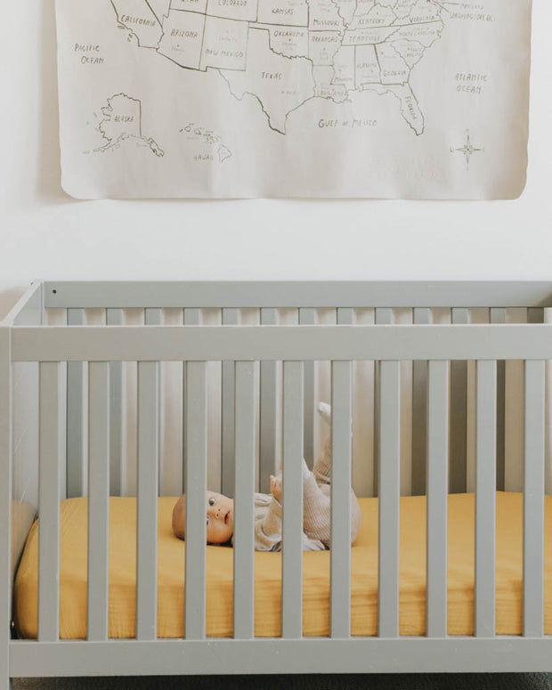 Cotton Muslin Crib Sheet - Mustard
