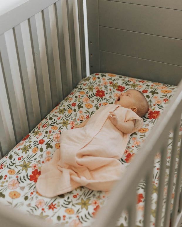 Cotton Muslin Crib Sheet - Primrose Patch