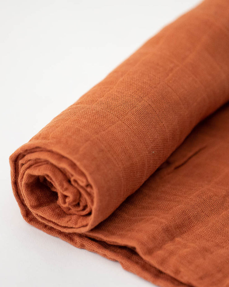 Cotton Muslin Swaddle Blanket - Rust
