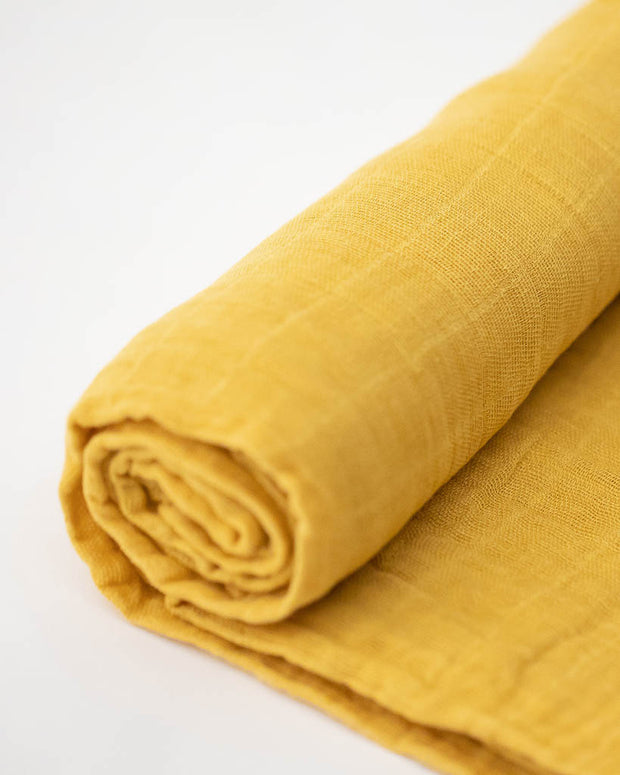 Cotton Muslin Swaddle Blanket - Mustard