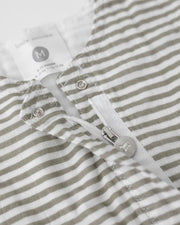 Cotton Muslin Romper  - Grey Stripe