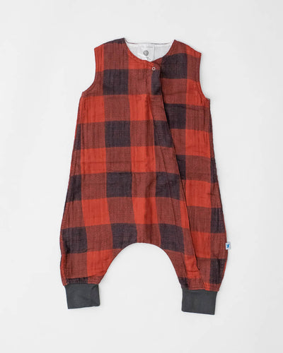 Cotton Muslin Romper  - Red Plaid