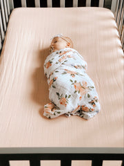 Cotton Muslin Crib Sheet - Rose Petal