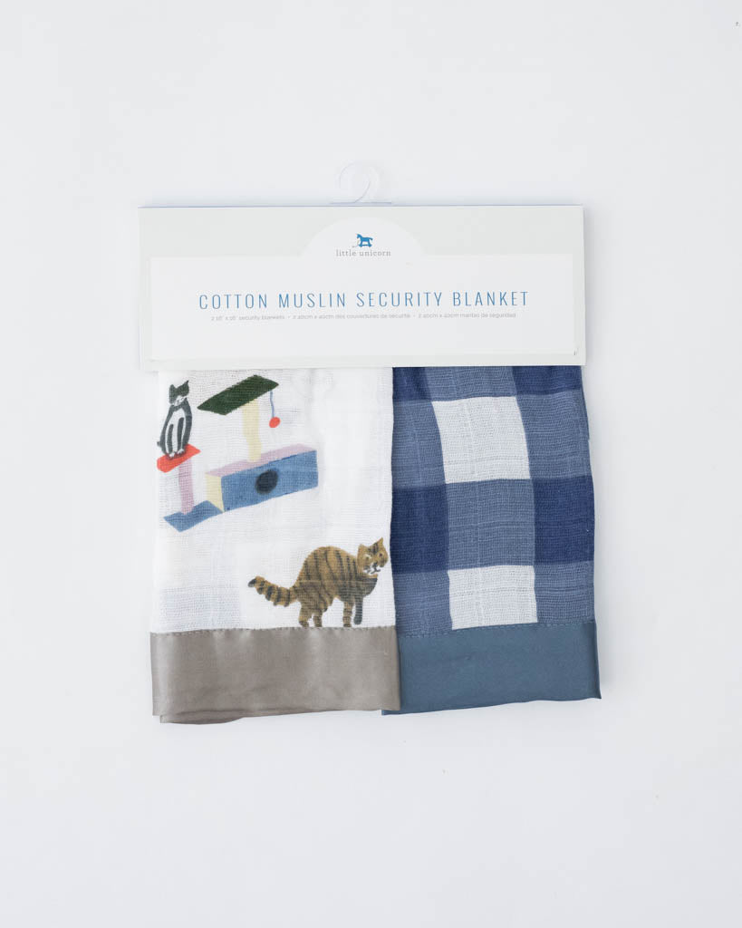 Cotton Muslin Security Blanket 2 Pack - Meow + Jack Plaid