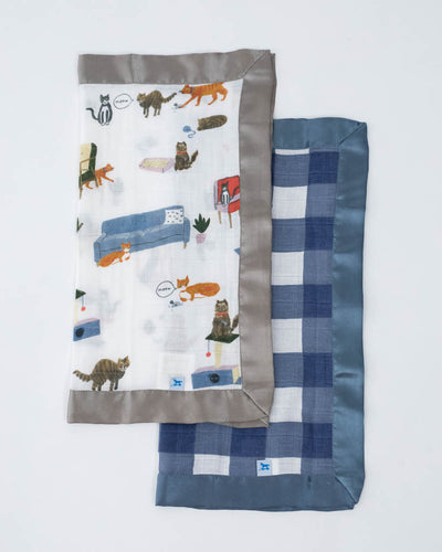Cotton Muslin Security Blankets - Meow + Jack Plaid