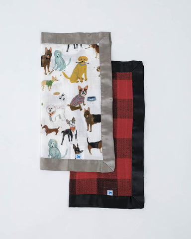 Cotton Muslin Security Blanket 2 Pack - Woof + Red Plaid