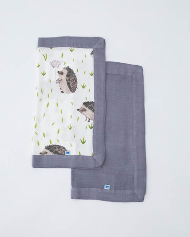 Deluxe Security Blankets - Hedgehog + Charcoal