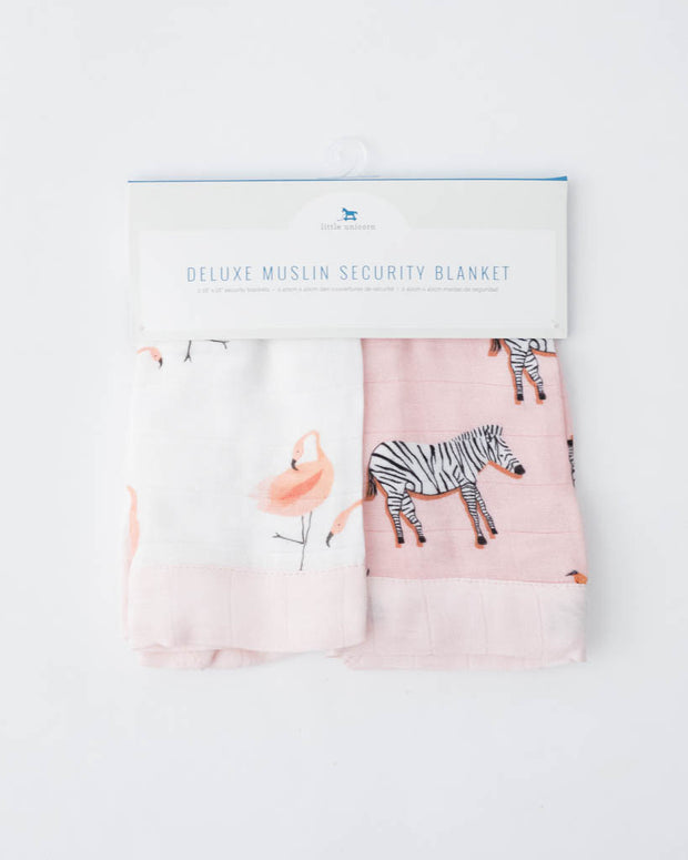 Deluxe Muslin Security Blankets - Pink Ladies + Zebra