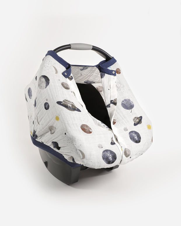 Cotton Muslin Car Seat Canopy - Planetary