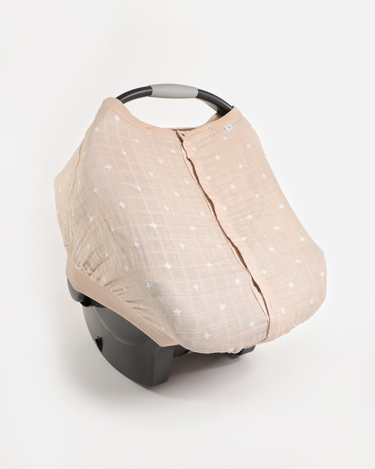 Cotton Muslin Car Seat Canopy - Taupe Cross