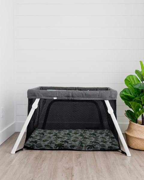 Cotton Muslin Mini Crib Sheet - Tropical Leaf