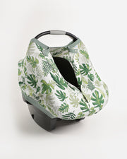 Cotton Muslin Car Seat Canopy - Tropical Leaf