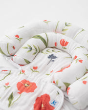Cotton Muslin Head Support - Summer Poppy