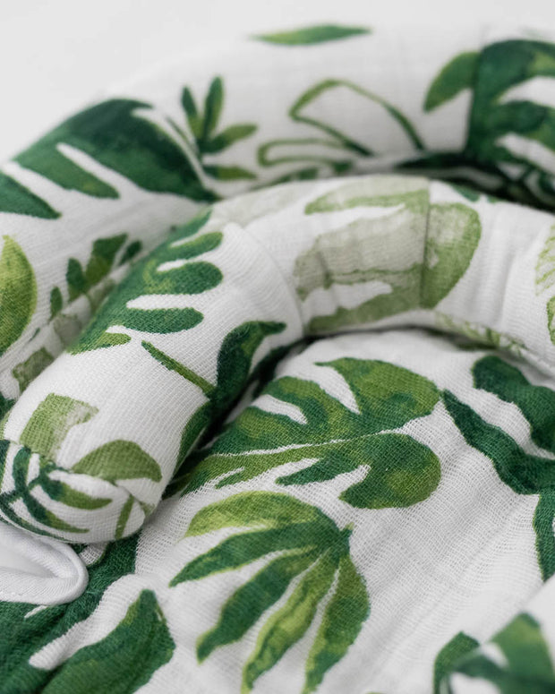 Cotton Muslin Head Support - Tropical Leaf