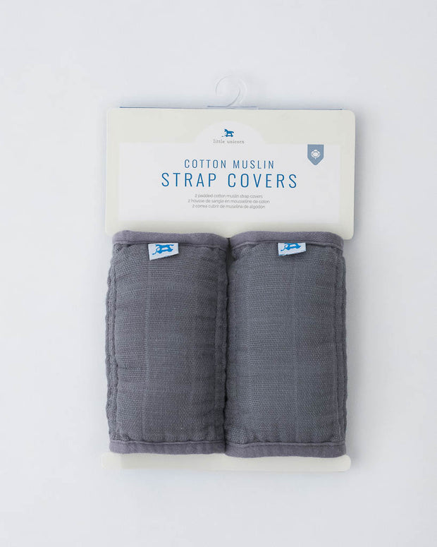 Cotton Muslin Strap Covers - Charcoal