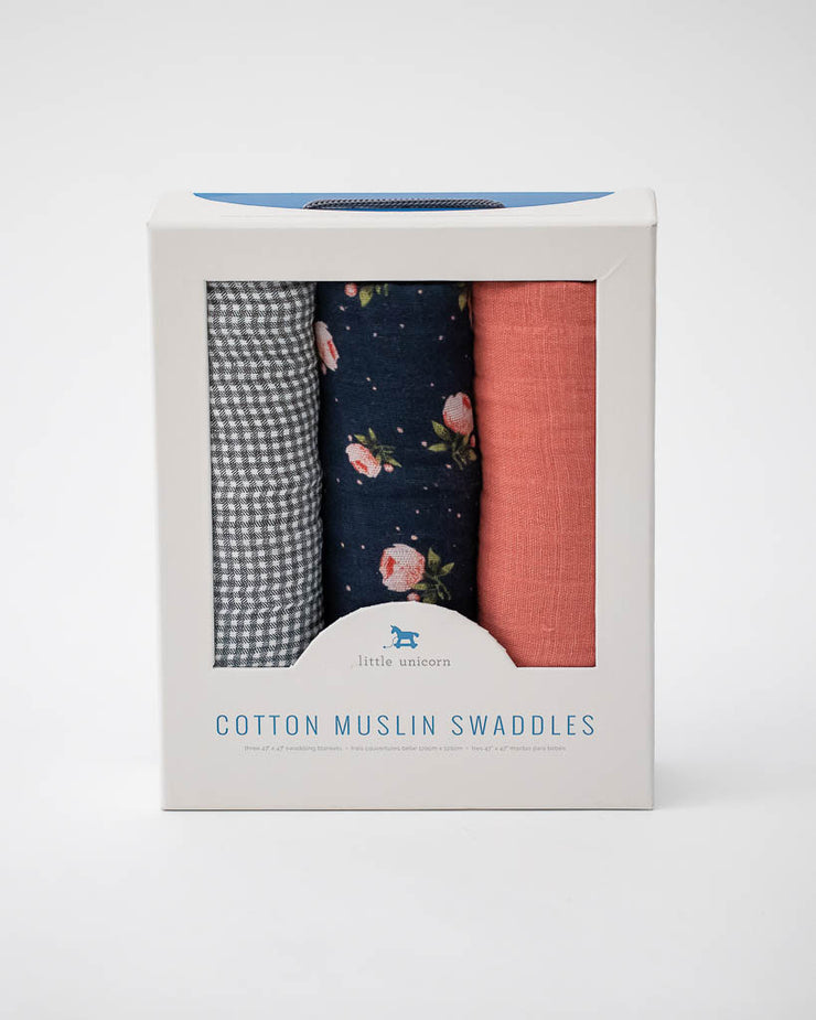 Cotton Muslin Swaddle Blanket Set - Midnight Rose Set