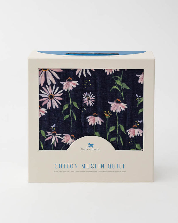 Cotton Muslin Baby Quilt - Dark Coneflower