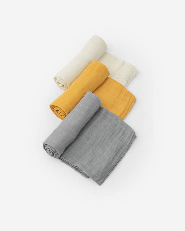 Cotton Muslin Swaddle Blanket Set - Mustard