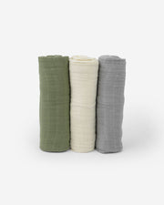 Cotton Muslin Swaddle Blanket Set - Fern