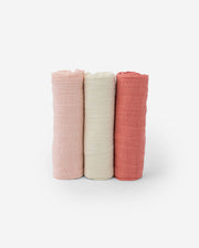 Cotton Muslin Swaddle Blanket Set - Rose Petal