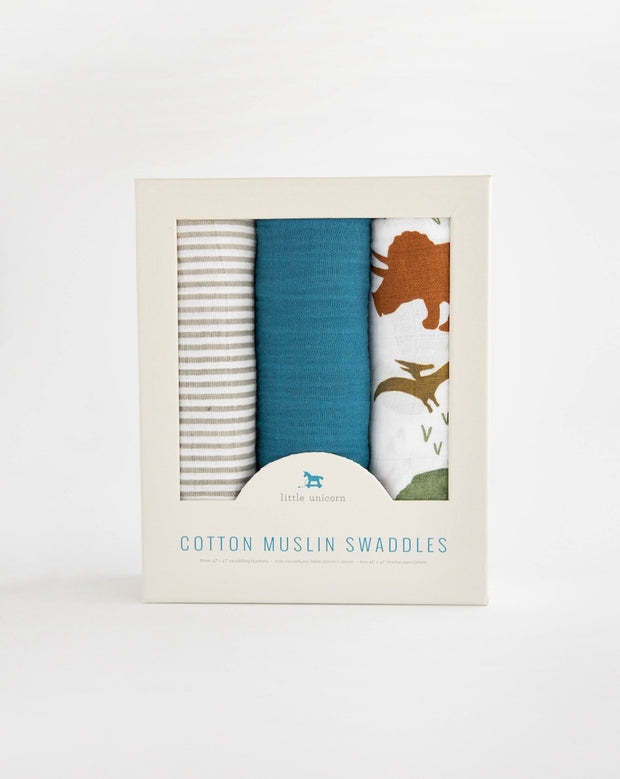 Cotton Muslin Swaddle Blanket Set - Dino Friends 2