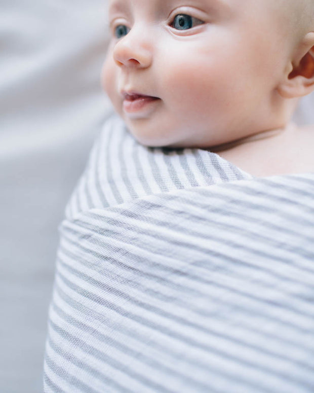 Cotton Muslin Swaddle Blanket - Grey Stripe