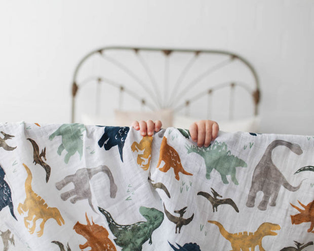 Cotton Muslin Swaddle Blanket - Dino Friends