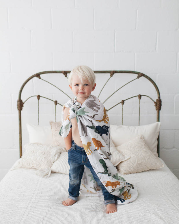 Cotton Muslin Swaddle Blanket Set - Dino Friends