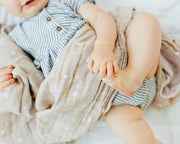 Cotton Muslin Swaddle Blanket - Taupe Cross