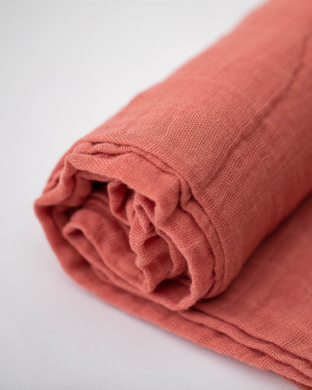 Cotton Muslin Swaddle Blanket - Dusty Rose