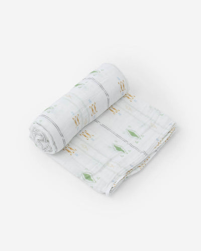 Cotton Muslin Swaddle Blanket - Diamond Stripe