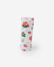 Cotton Muslin Swaddle Blanket - Strawberry Patch