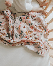 Cotton Muslin Swaddle Blanket - Vintage Floral