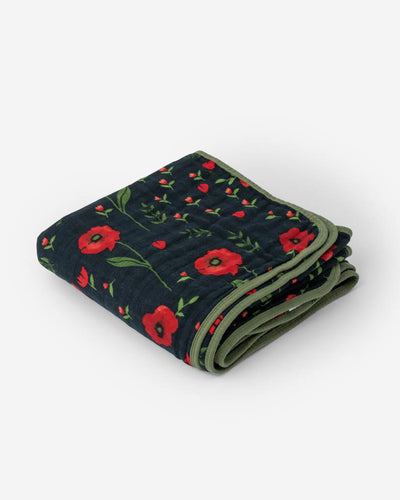 Cotton Muslin Baby Quilt - Dark Summer Poppy