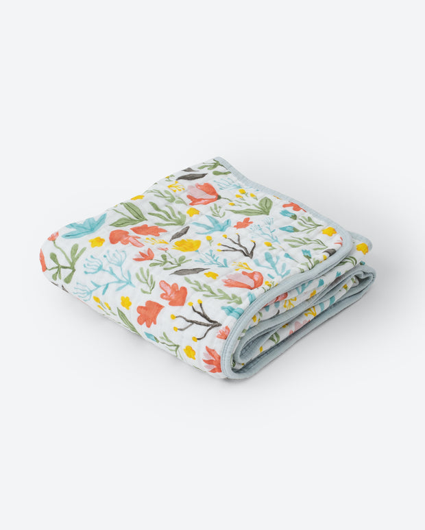 Cotton Muslin Baby Quilt - Meadow