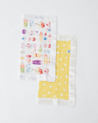Cotton Muslin Security Blanket 2 Pack - Itsy Bitsy + Brain Freeze