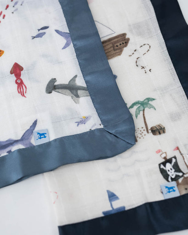 Cotton Muslin Security Blankets - Shark + Treasure Map