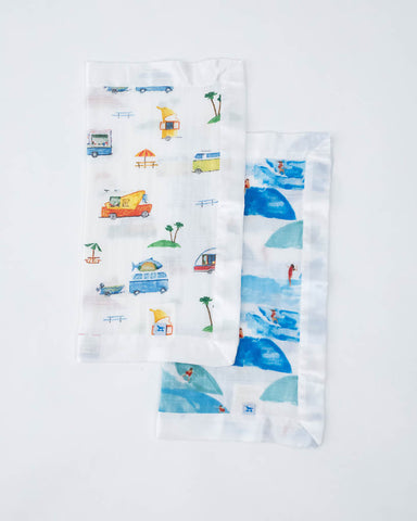 Cotton Muslin Security Blanket 2 Pack - Surf + Food Truck