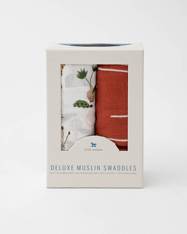 Deluxe Muslin Swaddle 2 Pack -  Safari Social Set