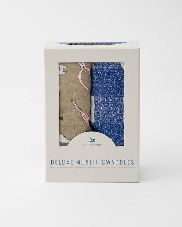 Deluxe Muslin Swaddle 2 Pack -  Work Bench Set