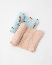 Deluxe Muslin Swaddle Blanket Set -  Swim Cap Set
