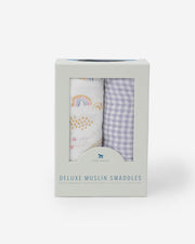 Deluxe Muslin Swaddle Blanket Set - Rainbow Gingham