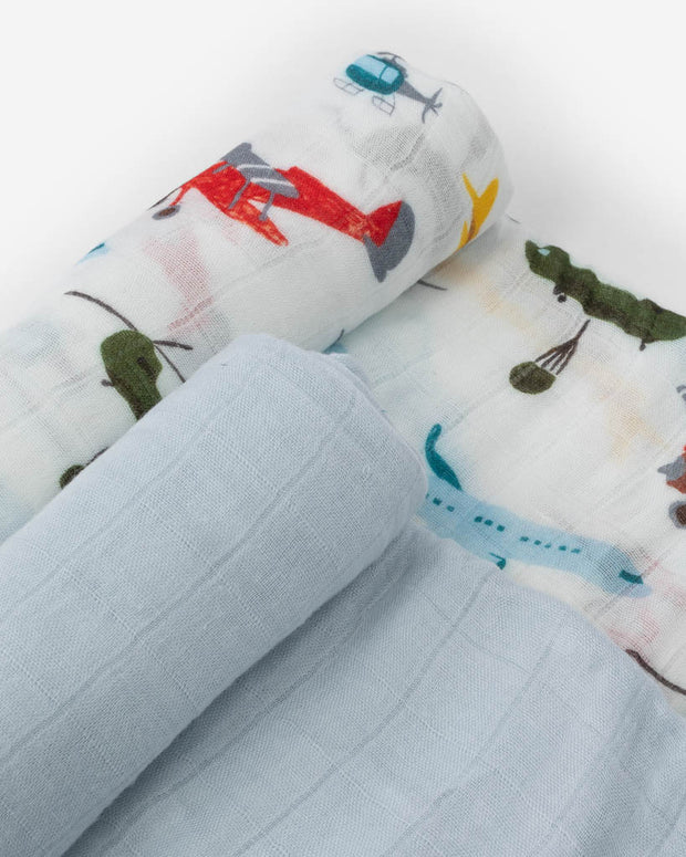 Deluxe Muslin Swaddle Blanket Set - Air Show Set