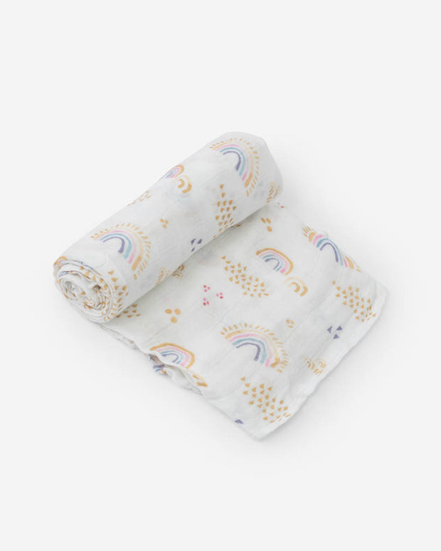 Deluxe Muslin Swaddle Blanket - Rainbows & Raindrops